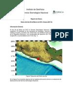 Informe Sismo México 20 marzo 2012