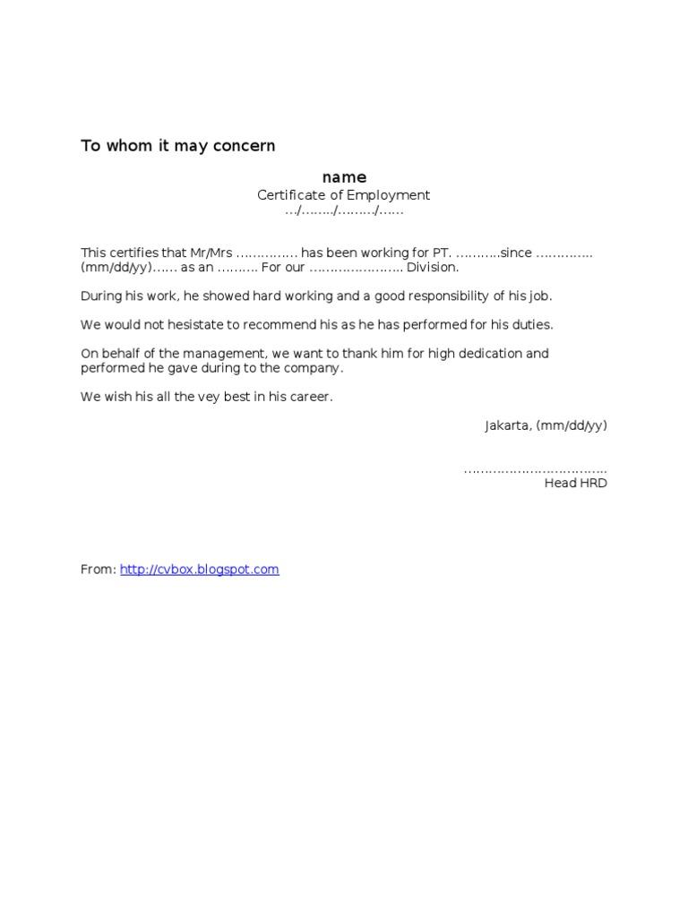 Contoh Surat Pengalaman Kerja / Referensi/ Paklaring ...