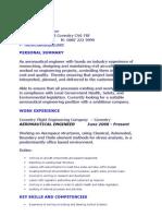 Aeronautical Engineer CV Sample