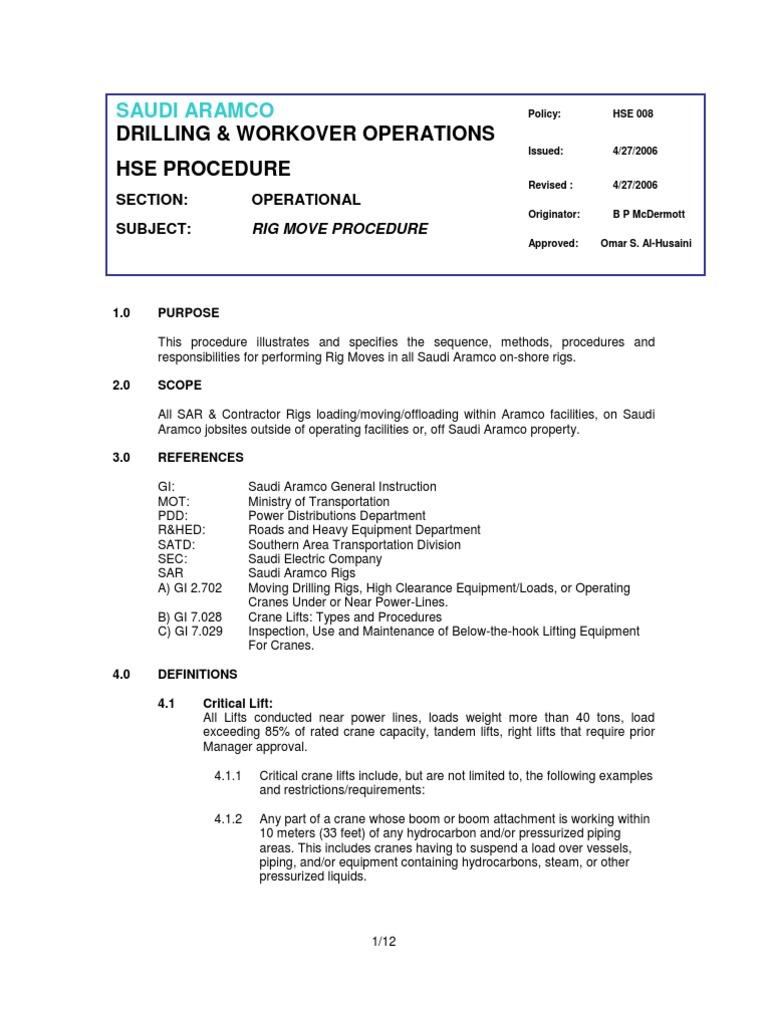 1260711579 rig move procedures hse 008 drilling rig crane machine rh scribd com Procudures Manual User Manual