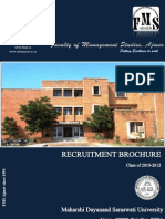 Recruitment Brochure 2010-2012 of Faculty of Management Studies, Ajmer