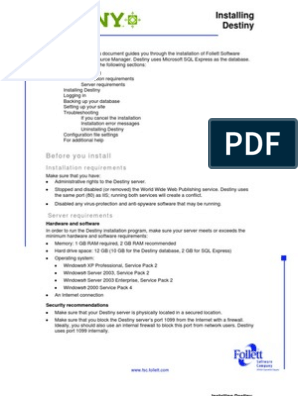 Installing Destiny   Proxy Server   Installation (Computer