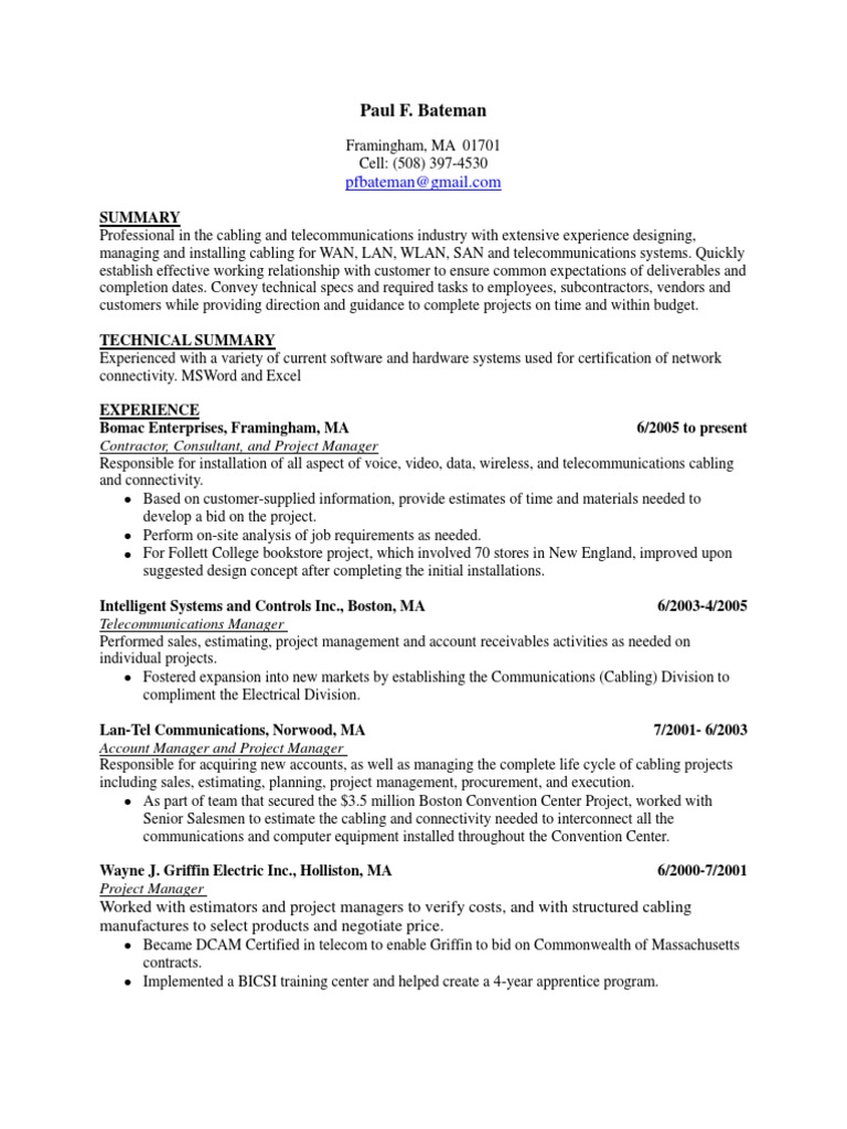 Project Manager Telecom In Boston Ma Resume Paul Bateman Project