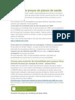 Reajustes de preços de planos de saúde sanamed LÚ