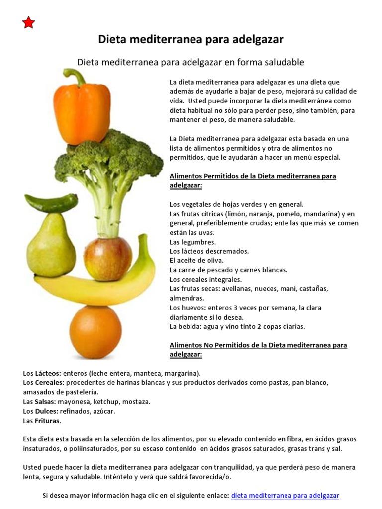 lista de alimentos dela dieta mediterranea