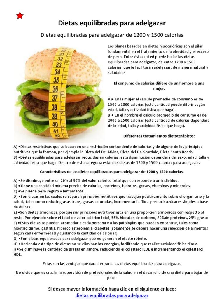 dieta equilibrada para adelgazar hombres