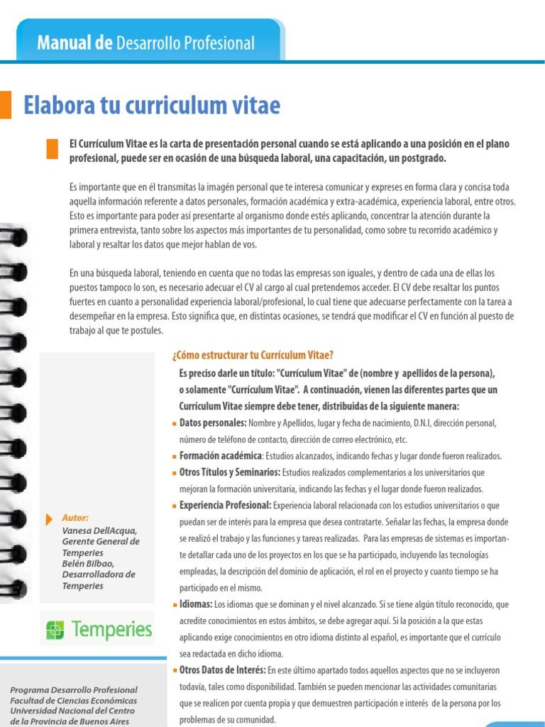 Pdf Elabora Tu Curriculum Vitae