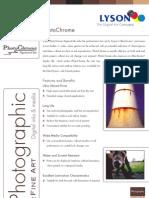 Photo Chrome Spec Sheet