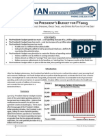 House Budget Committee's analysis of the President's FY 2013 budget