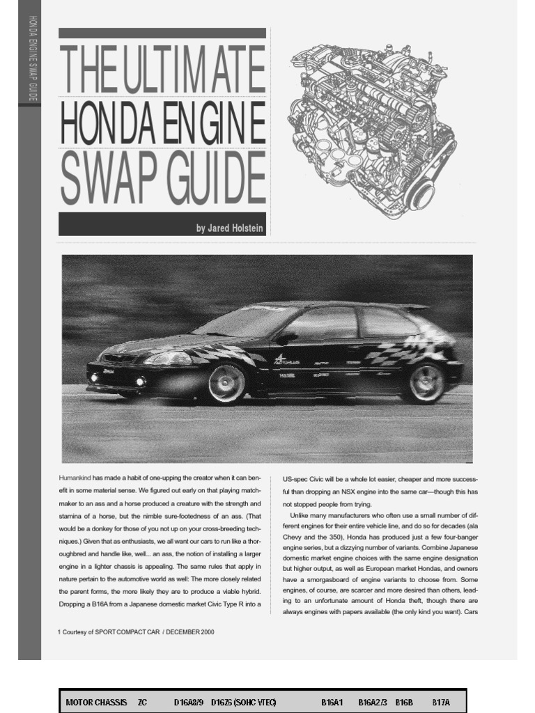 Civic Engine Swap Guide Motor Vehicle Land Vehicles 19962000 Honda Electrical Troubleshooting Manual Original