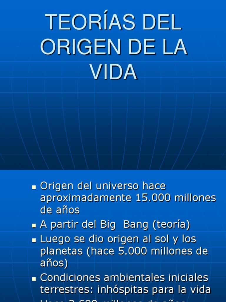 teoria del origen de la vida | Química | Ciencias físicas