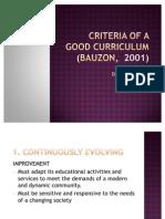 Criteria of a Good Curriculum