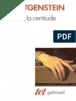 Wittgenstein - De La Certitude