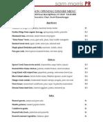 Hudson dinner menu