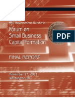Forum on Small Business Capital Formation - Final Report