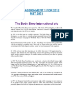 Assignment Two (2) the Body Shop International Plc MST 3871 March 2012