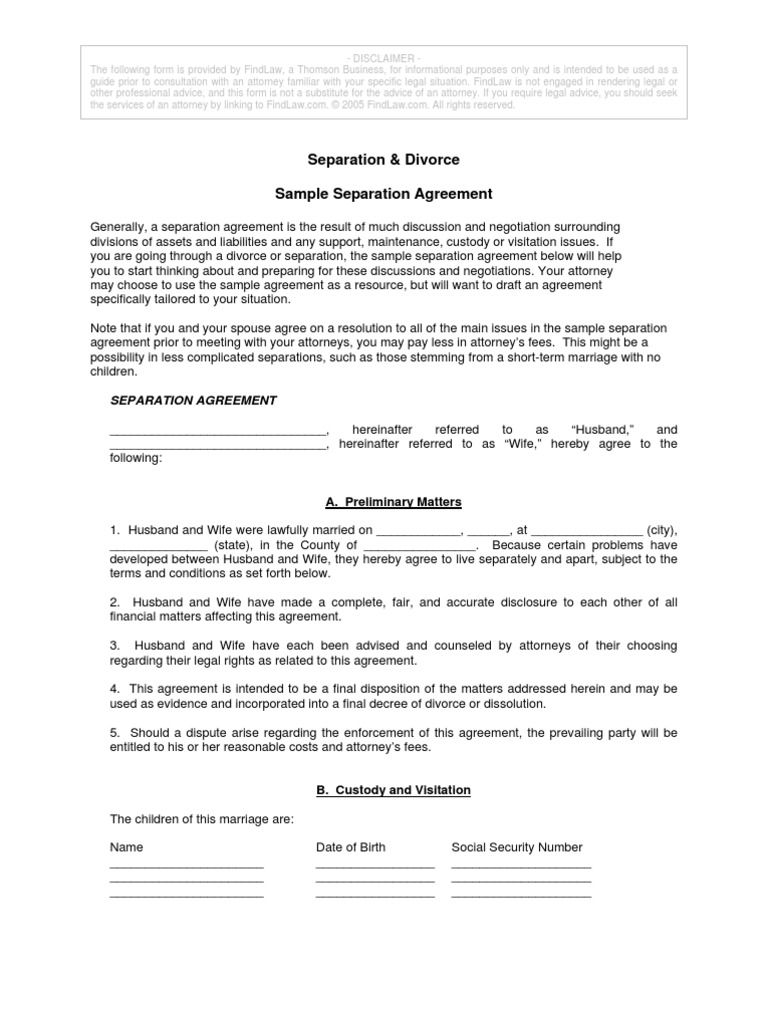 Separation Agreement Child Custody Child Support