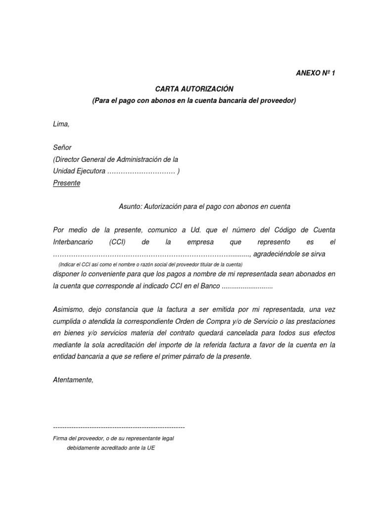 Modelo de carta autorizacion pago for Solicitud de chequera