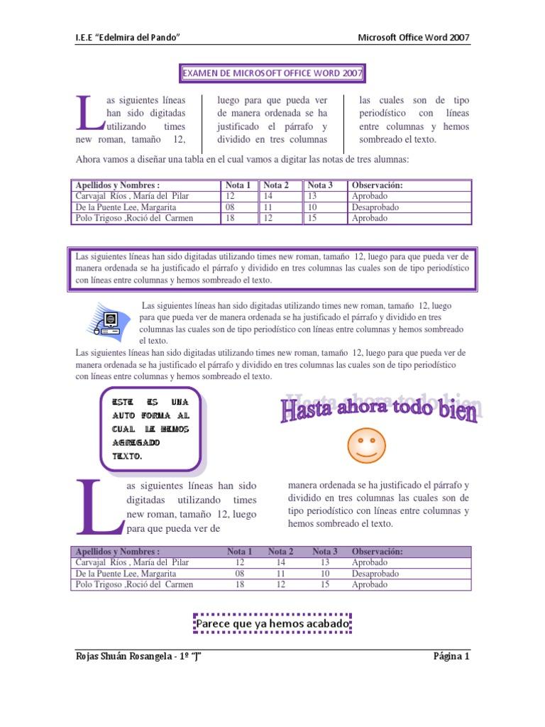 Examen De Microsoft Office Word 2007