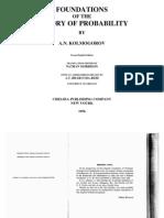 Foundations of the Theory of Probability - A N KOLMOGOROV