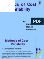 10.Methods of Cost Variability