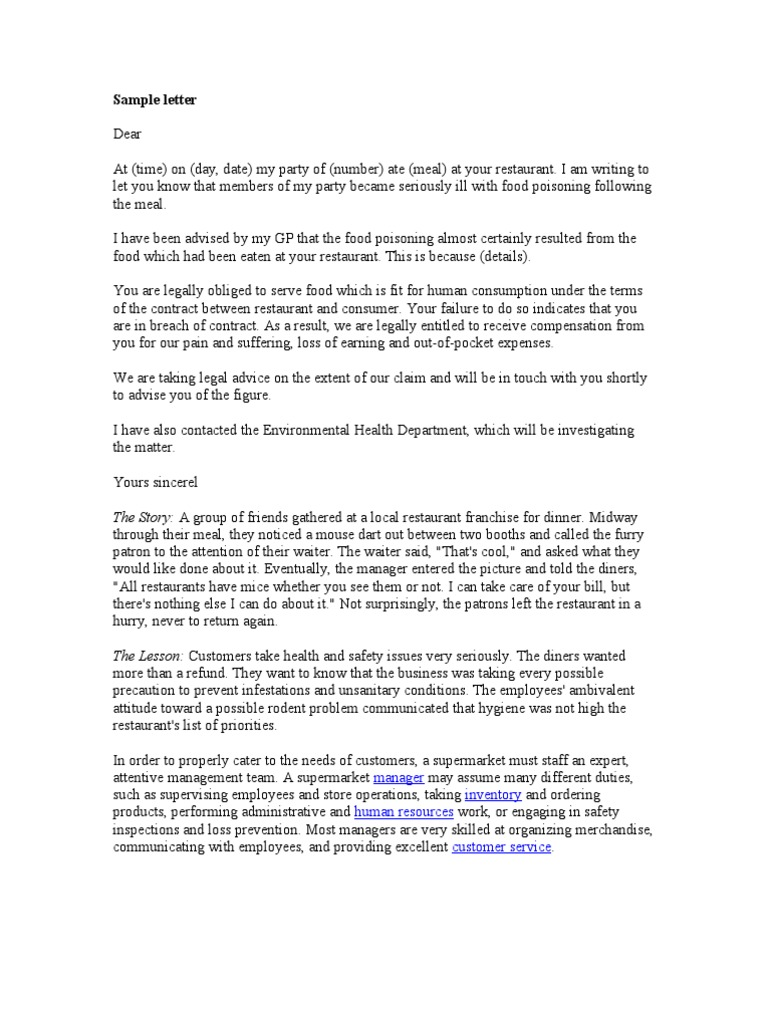 Complaint letter sample supermarket human resource management aljukfo Images