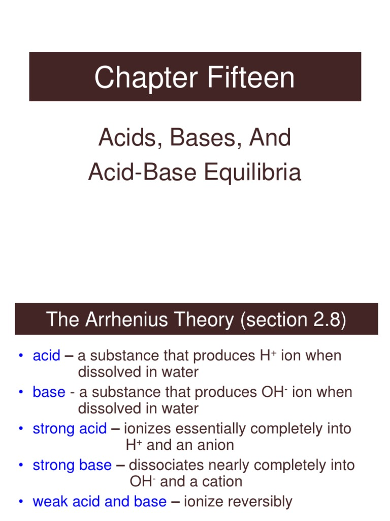 Chap A Acid Dissociation Constant Strong