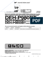 Service (Repair) Manual for Pioneer DEH-P9800BT