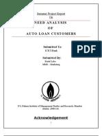 Pratul C Lobo_MMS Marketing - Need Analysis of Auto Loan Customers_ICICI Bank