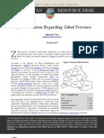 Key Information Regarding Zabul Province