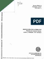 IRAM 15_1973 (obsoleta) Inspección por Atributos - Planes de muestra unica, doble y multiple, con rechazo