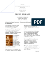 "Press Release ""Broad Spectrum Probiotic""  a change in probiotic preparation"