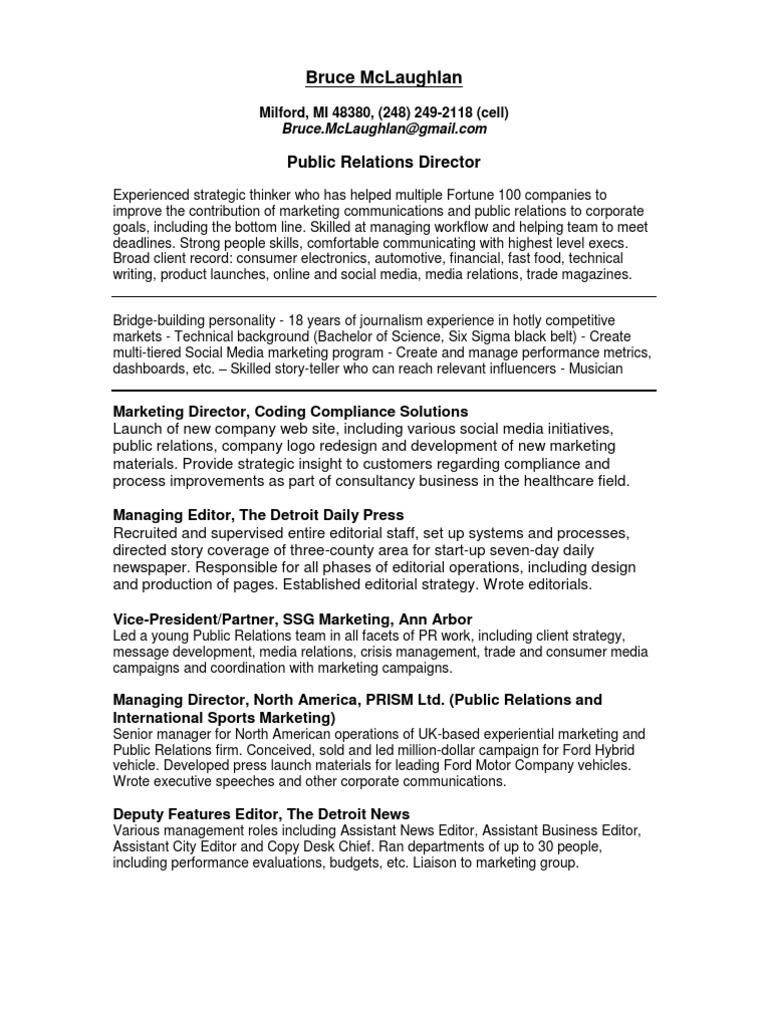 Director Public Relations In Detroit MI Resume Bruce McLaughlan. Marketing  ...