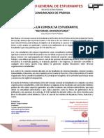 CGE 11-03-12 Comunicado de Prensa - Inicia Consulta Estudiantil