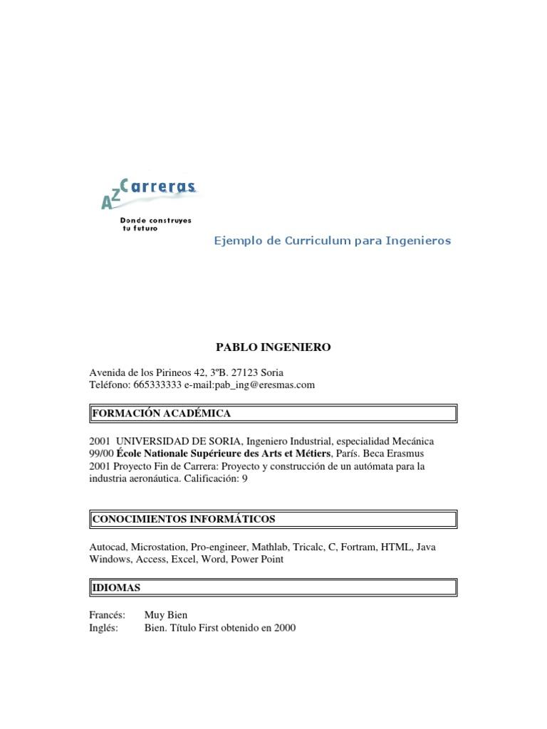 Encantador Objetivo De Carrera En Currículum Para Ingenieros ...