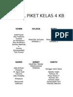 Jadwal Piket Kelas 4 Kb