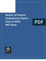 Class of 2010 Master of Finance Employment Report