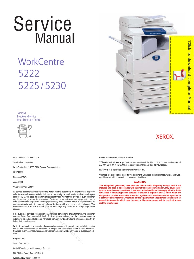xerox work centre 5222 5225 5230 service manual pages image rh scribd com xerox workcentre 7132 service & repair manual xerox workcentre 7132 service & repair manual