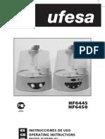 Umidificador Ufesa - Manual - Hf 6445 e Hf 6450