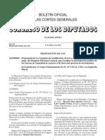 Proposición de modificación de la LOREG, para facilitar la participacion de las Fuerzas y Cuerpos de Seguridad del Estado de carácter civil, fuera de sus funciones