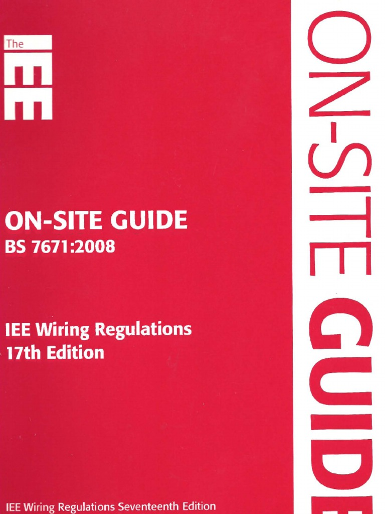 on site guide bs 7671 2008 iee wiring regulations 17th edition rh es scribd com BS 7671 Color Identification 17th Century Women