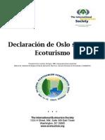 Oslo Statement on Eco Tourism/ Declaración de Oslo sobre el Ecoturismo (Spanish)