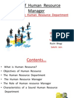 Role of Human Resource Manager