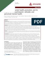 Educación y promoción de Salud Mental y su impacto