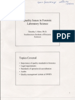 2004 Quality Issues in Forensic Laboratory Science Ppt - Tim Sliter