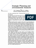 Strategic Planning and Environmental Analysis