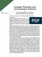Strategic Planning and Environmental Analysis