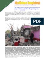 Communal arson attack on Hindu religion minority community in Hathazari Upazila under Chittagong District: