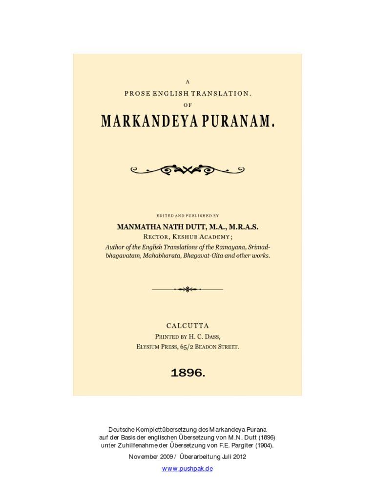Das Markandeya Purana Deutsche übersetzung