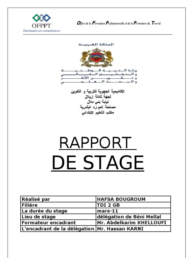 Rapport De Mon Stage 3 Application écoles